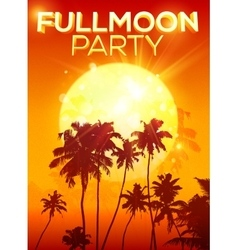 Big orange moon fullmoon party poster background vector image vector image