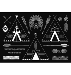 Collection of Native American tribal stylized vector image