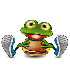 Frog eats cheeseburger vector