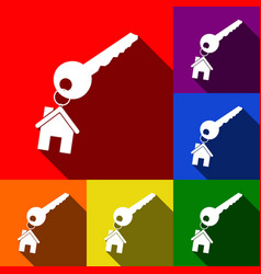 key with keychain as an house sign set of vector image
