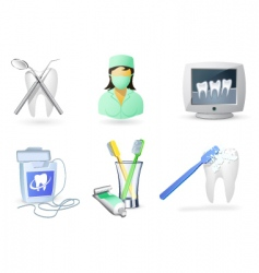 medical icons set dentistry vector image
