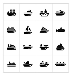 Set icons of water transport vector image