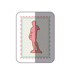 sticker frame with silhouette of sculpture david vector image