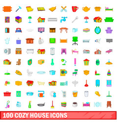 100 cozy house icons set cartoon style vector