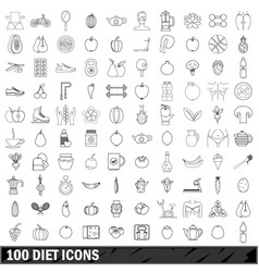 100 diet icons set outline style vector image