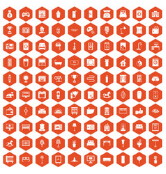 100 interior icons hexagon orange vector