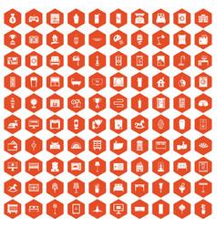 100 interior icons hexagon orange vector image