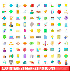 100 internet marketing icons set cartoon style vector image