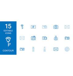15 contour icons vector image