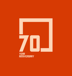70 year anniversary square template design vector