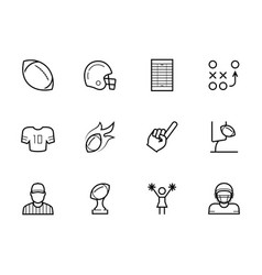 American football icon set in thin line style vector