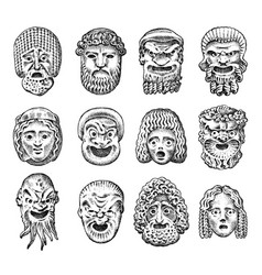 antique scary masks ancient greek theatrical vector image