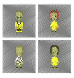 assembly flat shading style icon halloween zombie vector image