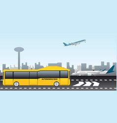 Autonomous bus at the airport vector