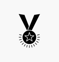 award honor medal rank reputation ribbon glyph vector image
