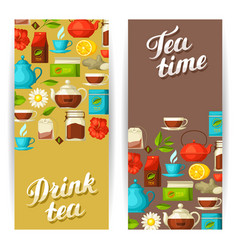 banners with tea and accessories packs and vector image
