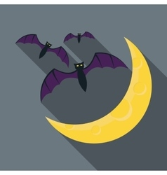 Bats and moon icon flat style vector image