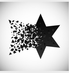 black star and polygon destruction vector image
