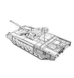 Blueprint of realistic tank vector