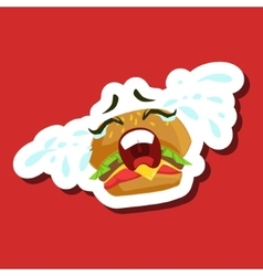 Burger Sandwich Crying Out Loud Cute Emoji vector