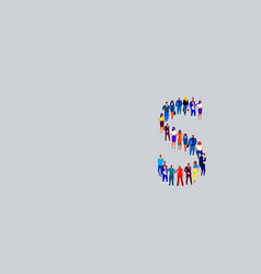 Business people crowd forming shape letter s vector
