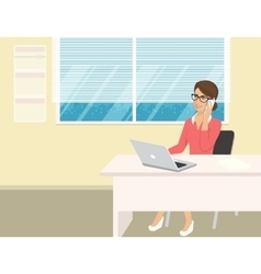 Business woman wearing rose shirt sitting in the vector