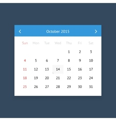 Calendar page for October 2015 vector image