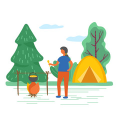 camping man cooking near tent in forest vector image