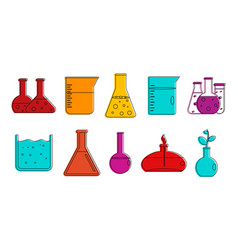 chemical pots icon set color outline style vector image