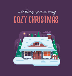 Christmas card with forest winter house by night vector