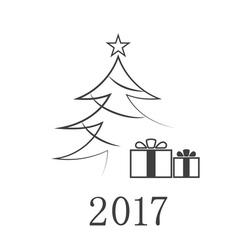 Christmas tree flat isolated vector image