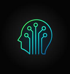 Circuit board head colored line icon on vector
