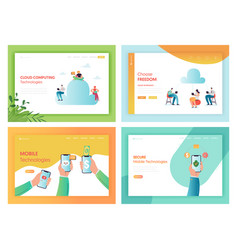Cloud storage mobile technologies concept web page vector