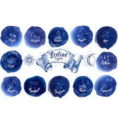 collection astrology signs on blue watercolor vector image
