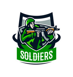 Colorful logo badge emblem of a soldier shooting vector