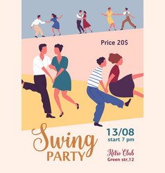 colorful vertical poster for swing or lindy hop vector image
