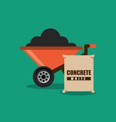 construction wheelbarrow and sack concrete vector image