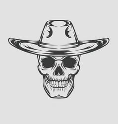 Cowboy skull drawing in a vintage retro woodcut vector