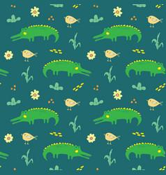 cute crocodile or alligator with little bird vector image