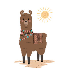 Cute llama with ethnic design elements vector