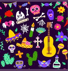 dia de los muertos seamless pattern vector image