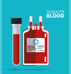 donate blood bag and test tube vector image