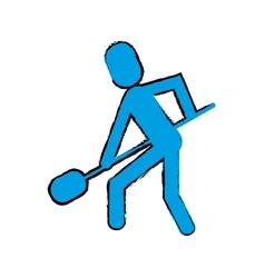 Drawing man shovel digging work construction vector