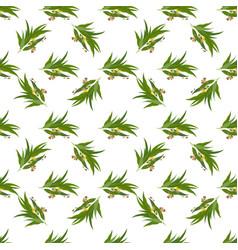 elegant seamless pattern with eucalyptus leaves vector image