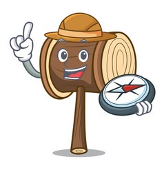Explorer mallet mascot cartoon style vector