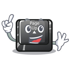 Finger button page up keyboard mascot vector