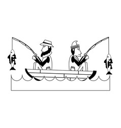 fishermen on boat icon image vector image
