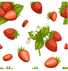 Fruits strawberries seamless patterns vector