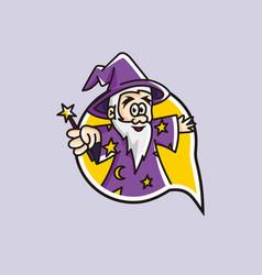Fun chat wizard character mascot logo vector