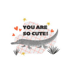 Funny a crocodile valentines day vector